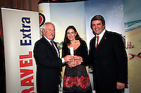 NO REPRO FEE: 27.1.12: Travel Extra Travel Journalist of the Year Awards Announced In Dublin. Pictured was  John Spollen from Cassidy Travel and Eoghan Corry, Editor of Travel Extra presenting 'City Break' category winner to Yvonne Gordon (centred)Freelance. Picture Collins Photos.