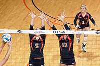 SAN ANTONIO, TX - SEPTEMBER 1, 2012: The Belmont University Bruins versus the University of Texas at San Antonio Roadrunners Women's Volleyball at the UTSA Convocation Center. (Photo by Jeff Huehn)