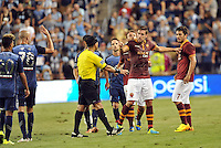 Sporting Park, Kansas City, Kansas, July 31 2013:<br /> MLS All Star players and AS Roma players confront each other.<br /> MLS All-Stars were defeated 3-1 by AS Roma at Sporting Park, Kansas City, KS in the 2013 AT &amp; T All-Star game.