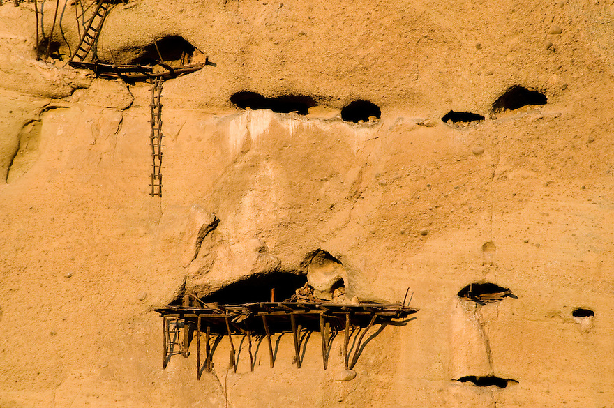 Greece, Meteora, Cave flats in Meteora cliffs