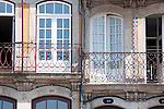 Windows of the buildings in the Ribeira section of Porto, Portugal.