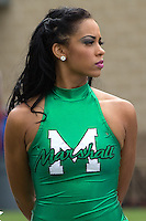 Marshall majorette. The WVU Mountaineers beat the Marshall Thundering Herd 34-13 in a game called just after the fourth quarter started because of severe thunderstorms in the area. The game was played at Milan Puskar Stadium in Morgantown, West Virginia on September 4, 2011.