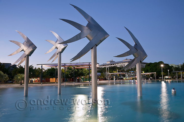 Fish sculpture at the Esplanade Lagoon.  Cairns, Queensland, AUSTRALIA