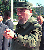 "Fisel Castro greets the journalists, today September 03, 2000, in wait for the arrival from, to president of Belaruss Alexander Grigorevich Lukashenko in the ""Palace of the Revolution,"" Lukashenko it is the first president of country ex-comunist that Cuba view, after the fall of the ""Wall of Berlin"". Credit: Jorge Rey/MediaPunch"