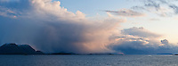 Rain clouds over coastal islands, Norway
