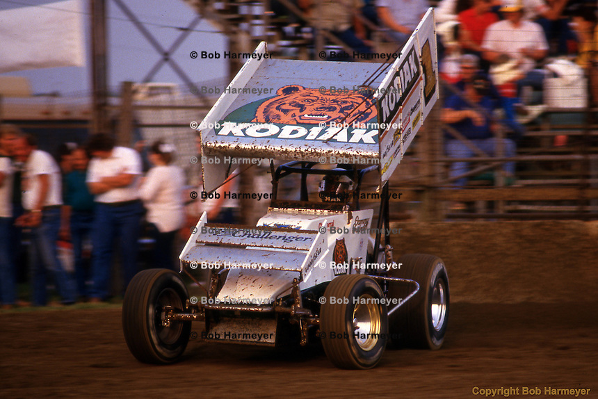 Sammy Swindell drives in the 1987 World of Outlaws race near Kokomo, Indiana.