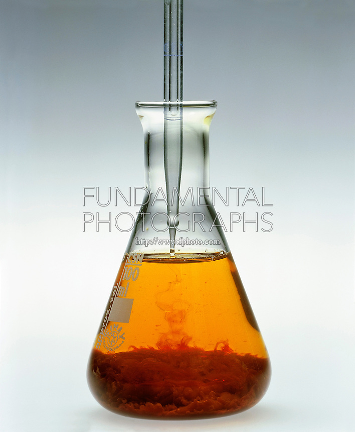 PRECIPITATION: FERRIC HYDROXIDE<br /> (2 of 2 - Variations Available)<br /> Sodium Hydroxide Added to Ferric Sulfate<br /> NaOH in pipette  added to Fe2(SO4)3(aq) in erlenmeyer flask precipitates Fe(OH)3(s). Ferric hydroxide is actually hydrated ferric oxide-Fe2O3 x H2O which is very insoluble(Ksp=2.6x10-39) and forms when the pH rises above pH2.