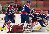 Christian Folin (UML - 26), Jimmy Vesey (Harvard - 19), Terrence Wallin (UML - 9), Connor Hellebuyck (UML - 37) - The visiting University of Massachusetts Lowell River Hawks defeated the Harvard University Crimson 5-0 on Monday, December 10, 2012, at Bright Hockey Center in Cambridge, Massachusetts.