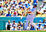 24 July 2011: Los Angeles Dodgers infielder Aaron Miles in action against the Washington Nationals at Dodger Stadium in Los Angeles, California. The Dodgers defeated the Nationals 3-1 to take the rubber match of their three game series. Mandatory Credit: Ed Wolfstein Photo