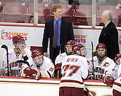 Tommy Cross (BC - 4), Philip Samuelsson (BC - 5), Greg Brown (BC - Assistant Coach), Cam Atkinson (BC - 13), Patch Alber (BC - 27), Joe Whitney (BC - 15), Jerry York (BC - Head Coach) - The Boston College Eagles defeated the visiting University of New Hampshire Wildcats 4-0 while celebrating senior night on Friday, March 4, 2011, at Conte Forum in Chestnut Hill, Massachusetts.