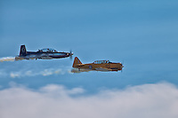 A T-6 Texan II & Harvard in action at the Canadian International Air Show in Toronto.