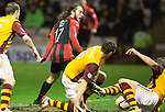 Motherwell v St Johnstone.....01.01.14   SPFL<br /> Stevie May is blocked in the box<br /> Picture by Graeme Hart.<br /> Copyright Perthshire Picture Agency<br /> Tel: 01738 623350  Mobile: 07990 594431