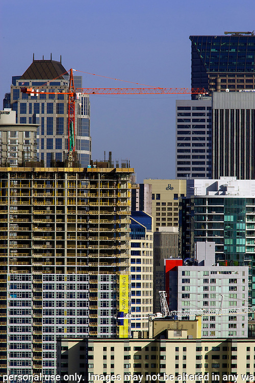 Construction in Seattle Skyline.  ©2014. Jim Bryant Photo. All Rights Reserved.