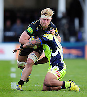 David Denton of Bath Rugby crashes into Johnny Leota of Sale Sharks. Aviva Premiership match, between Bath Rugby and Sale Sharks on April 23, 2016 at the Recreation Ground in Bath, England. Photo by: Patrick Khachfe / Onside Images