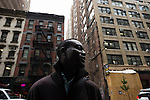 NEW YORK, NY. OCTOBER 15, 2010. Tokunbo Ajiboye, aka &quot;TK&quot;, in a street near Time Square in Manhattan, a few blocks aways from the business school he's attending. (Photo: Antoine Doyen)