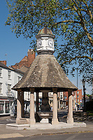 Victoria Fountain, designed by E.P. Warren and built in 1899 The Plain, Oxford. The Victoria Fountain is an octagonal stone structure with eight columns under a tiled roof, designed as a drinking fountain, with copper-lined basins and outside troughs for horses. The conical roof is topped with a cupola with its well-used four-faced clock and weather vane.