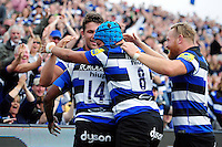 Bath Rugby players congratulate Semesa Rokoduguni on his first half try. Aviva Premiership match, between Bath Rugby and Newcastle Falcons on September 10, 2016 at the Recreation Ground in Bath, England. Photo by: Patrick Khachfe / Onside Images