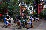 Manwe Sauls and Lashonna Holloway, center, together in Chelsea, New York on June 24, 2012.