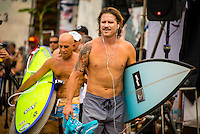 North Shore, Oahu, HAWAII - (Friday, Nov. 15, 2013) Brad Gerlach (USA) fourth placegetter and Michael Ho (HAW) who finished 3rd in the Clash of the Legends.--  The REEF Hawaiian Pro is the first stop of the $960,000 Vans Triple Crown of Surfing.<br /> The contest has until November 23 to run four full days of competition where 128 of the world's best surfers will compete for critical ASP Prime points and a share of $250,000 prize money. The winner of this event will take home $40,000 and an early lead on the 2013 Vans Triple Crown series ratings. <br /> <br /> A bad day turned good for 6-time Vans Triple Crown champion Sunny Garcia (HAW) today, bowing out of the main event but getting the better of a fun reunion with three other legends of the sport to win the exhibition REEF Clash of the Legends. The $10,000 first prize definitely helped to lift his mood. His former tour traveling partner Kaipo Jaquias (HAW) was second; Michael Ho (HAW) was third; and California's Brad Gerlach (USA) was fourth. This was Garcia's second &quot;Clash&quot; title.Photo: joliphotos.com