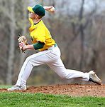 WATERBURY CT. 19 April 2017-041817SV12-#19 Fran Phelan of Holy Cross pitches against Naugatuck High in the 2nd inning during NVL baseball action in Waterbury Wednesday.<br /> Steven Valenti Republican-American
