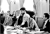 United States President Bill Clinton considers advice from his Communications Director, George Stephanopolous, during a Cabinet Meeting in the Cabinet Room of the White House in Washington, D.C. on Wednesday, February 10, 1993.  From left to right: United States Secretary of State Warren Christopher; The President, Stephanopolous, United States Secretary of Defense Les Aspin; and United States Secretary of Commerce Ron Brown..Credit: White House via CNP