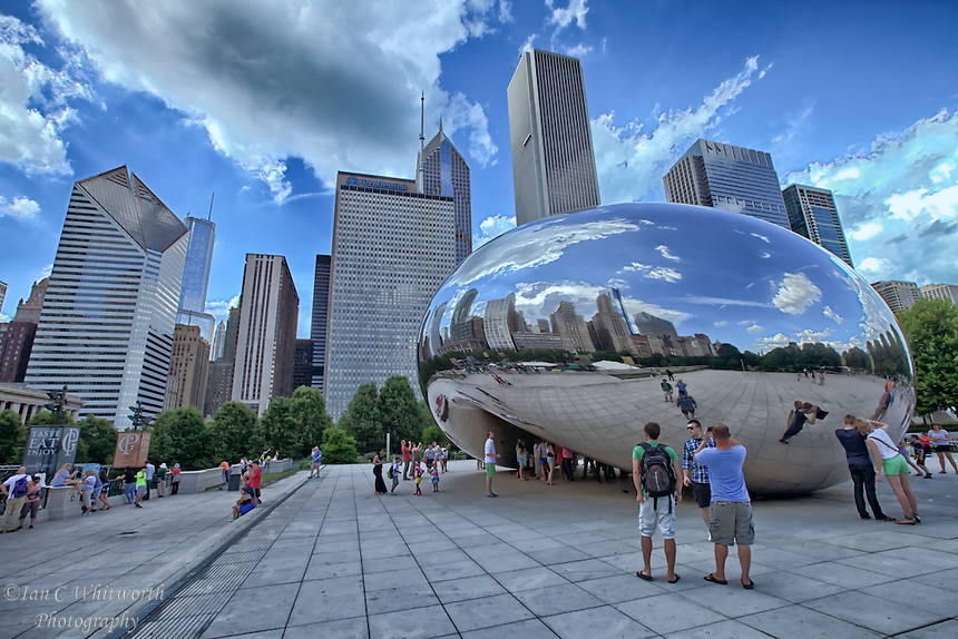 The Bean is a tourist attraction in Millennium Park in the beautiful city of Chicago.