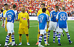 St Johnstone v Eskisehirspor....18.07.12  Uefa Cup Qualifyer.Shaking hands before kick off Murray Davidson leads the saints players.Picture by Graeme Hart..Copyright Perthshire Picture Agency.Tel: 01738 623350  Mobile: 07990 594431