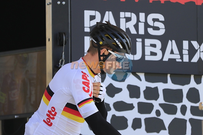 German National Champion Andre Greipel (GER) Lotto-Soudal at sign on for the 115th edition of the Paris-Roubaix 2017 race running 257km Compiegne to Roubaix, France. 9th April 2017.<br /> Picture: Eoin Clarke | Cyclefile<br /> <br /> <br /> All photos usage must carry mandatory copyright credit (&copy; Cyclefile | Eoin Clarke)