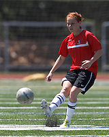 Aztec MA midfielder Hillary Savoy (6) passes the ball. In a Women's Premier Soccer League (WPSL) match, Aztec MA defeated CFC Passion, 4-0, at North Reading High School Stadium on July 1, 2012.