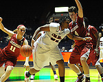 "Arkansas' Calli Berna (11) steals the ball from Ole Miss' Nikki Byrd (22) as Arkansas' Sarah Watkins (4) also defends at the C.M. ""Tad"" Smith Coliseum in Oxford, Miss. on Thursday, January 12, 2012. Mississippi won 60-54. (AP Photo/Oxford Eagle, Bruce Newman)"