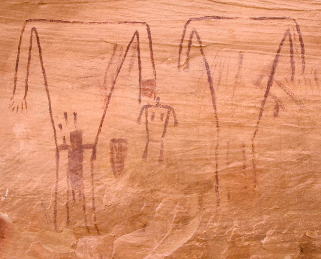 Breech Birth, Green Mask Panel in Grand Gulch Utah.<br /> Rock art often portrays important events in Puebloan Culture, and this, although unique, is no exception.