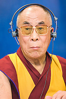 Tibetan spiritual leader the Dalai Lama speaks during a news conference after a speech in front of the the European paliament in Brussels 04 December 2008. The Dalai Lama urges the European Union to stand firm on human rights to protect the interests of the Chinese people.   &copy; by Wiktor Dabkowski ....