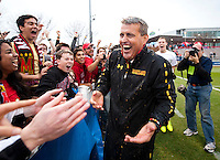 Maryland head coach Sasho Cirovski laughs after being doused with gatorade after the ACC Finals at the Maryland SoccerPlex in Boyds, MD.  Maryland defeated Virginia, 1-0, to win the title.