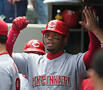 Cincinnati Reds' Ken Griffey Jr.is greeted in the team dugout after hitting a first inning at bat home run to left field against Seattle Mariners' Miguel Batista at Safeco Field in Seattle on June 24, 2007.  Jim Bryant Photo. ©2010. ALL RIGHTS RESERVED.