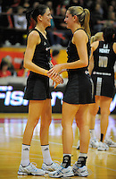 NZ's Anna Scarlett and Casey Williams. International Netball  - New Zealand Silver Ferns v Australian Diamonds Constellation Cup match at TSB Bank Arena, Wellington on Thursday, 2 September 2010. Photo: Dave Lintott/lintottphoto.co.nz