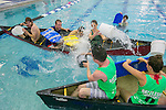 "Teams of students compete to sink their opponents' canoes during ""Battleship"" at Taishoff Pool Sat., Feb. 25, 2017. Using buckets of water and paddle boards as shields, 16 teams of 80+ undergrads and graduate students battled for several rounds to fill one another's canoes with water until Team ""Scurvy"", a group of sophomores were the last ones standing. The 4 v 4 contest is put on by Duke Recreation & Physical Education each Spring semester."