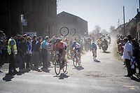 Jelle Wallays (BEL/Lotto-Soudal) leading the race over the first cobbled sector from Troisvilles to Inchy<br /> <br /> 115th Paris-Roubaix 2017 (1.UWT)<br /> One Day Race: Compi&egrave;gne &rsaquo; Roubaix (257km)