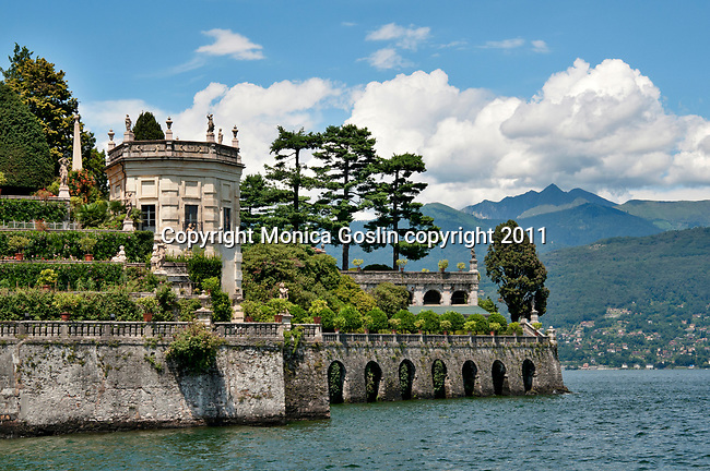 The terraced gardens of the grand Palace on Isola Bella, an island in Lake Maggiore, Italy across from the town of Stresa