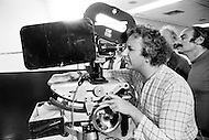 Washington, DC, USA. June 8th, 1972. English director, and producer Michael Winner filming on the set of his film Scorpio, shot in the Watergate building.