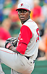 24 July 2010: Lowell Spinners pitcher Roman Mendez (now in the Texas Rangers organization) warms up prior to a game against the Vermont Lake Monsters at Centennial Field in Burlington, Vermont. The Spinners defeated the Lake Monsters 11-5 in NY Penn League action. Mandatory Credit: Ed Wolfstein Photo