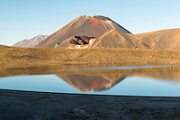 Views of Mount Ngaruhoe and Red Crater with reflection in Blue Lake, Tongariro National Park, Central Plateau, North Island, UNESCO World Heritage Area, New Zealand, NZ