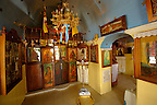 Interior of traditional Greek Orthodox church, Chora, Mykonos, Cyclades Islands, Greece.