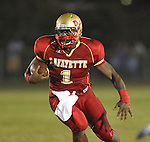 Lafayette High's Jeremy Liggins (1) runs at William L. Buford Stadium in Oxford, Miss. on Friday, September 2, 2011. Lafayette won 40-12