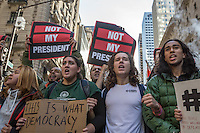 NEW YORK, NY - NOVEMBER 12:  Demonstrators chant slogans as they march up Fifth Avenue in New York during a protest against the election of President-elect Donald Trump, Nov. 12, 2016 in New York City. Photo by VIEWpress/Maite H. Mateo.
