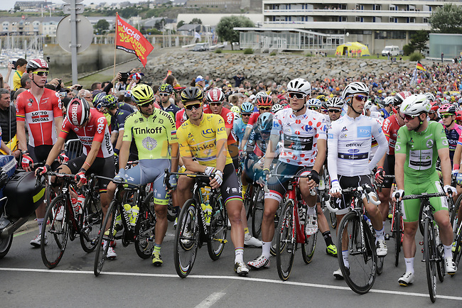 The peloton lined up for the start of Stage 3 of the 2016 Tour de France, running 223.5km from Granville to Angers, France . 4th July 2016.<br /> Picture: Eoin Clarke   Newsfile<br /> <br /> <br /> All photos usage must carry mandatory copyright credit (&copy; Newsfile   Eoin Clarke)