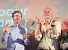 Jeremy Corbyn MP <br /> Rally for the Labour Leadership <br /> at the Camden Centre, London, Great Britain <br /> 3rd August 2015 <br /> <br /> Jeremy Corbyn  <br /> a British Labour Party politician who has been the Member of Parliament for Islington North since 1983<br /> <br /> and Owen Jones <br /> <br /> Photograph by Elliott Franks <br /> Image licensed to Elliott Franks Photography Services