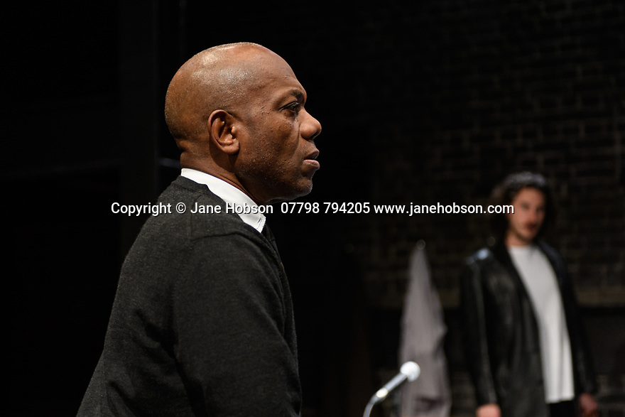 """A brand new adaptation of Albert Camus' """"The Plague"""" opens at the Arcola Theatre. Adapted and directed by Neil Bartlett. Picture shows: Burt Caesar (Grand),  Billy Postlethwaite (Mr Rambert)"""
