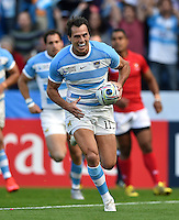 Juan Imhoff of Argentina runs in a try. Rugby World Cup Pool C match between Argentina and Tonga on October 4, 2015 at Leicester City Stadium in Leicester, England. Photo by: Patrick Khachfe / Onside Images