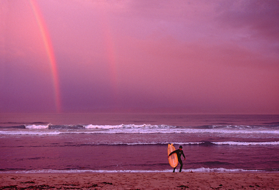Ditch Plains Beach, Surfers, Montauk Cliffs, Ocean, New York, Long Island, Rainbow