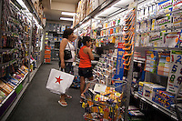 Back to school supplies are seen in a Staples office supply store in New York on Sunday, July 18, 2010. Stores are beginning to offer earlier than usual back to school specials. (© Richard B. Levine)
